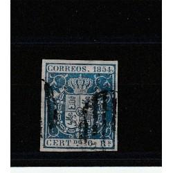 1854 SPAGNA ESPANA STEMMA DI SPAGNA 6 R AZZURRO - N 27   USATO  MF17871