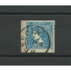 LOMBARDO VENETO 1855 GIORNALI MERCURIO 3 TIPO USATO SU FRAMMENTO CHIAV MF24190