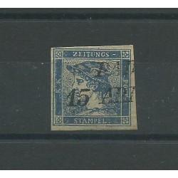 LOMBARDO VENETO 1850 GIORNALI MERCURIO CARTA SOTTILE N 1d USATO CAFFAZ MF24238