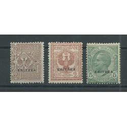 1924 ERITREA FRANCOBOLLI D ITALIA SOPRASTAMPATI 3 V NUOVI MLH MF24346