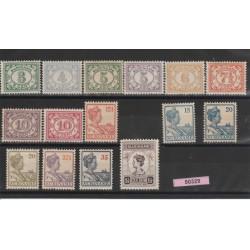 SURINAME 1922-28 DEFINITIVA CIFRA GUGLIELMINA YV 86/99 - 15 V MNH MF50329