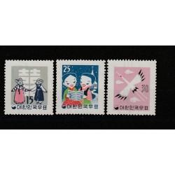 1959 COREA DEL SUD TEMATICA NATALE YV 228/230 3 VAL NUOVI MNH MF50611