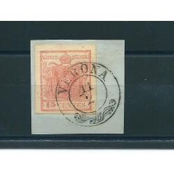 LOMBARDO VENETO 1850 15 CENT  SASS N 4 USATO MF13289