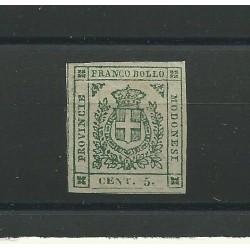 DUCATO DI MODENA 1859 GOVERNO PROVVISORIO 5 CENT VERDE N 12 MLH CAFFAZ MF21751