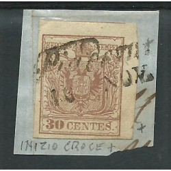 LOMBARDO VENETO 1850 30 C SASS N 9 CROCE S ANDREA FRAMMENTO CAFFAZ MF22833
