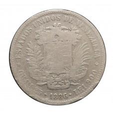 1886 VENEZUELA 5 BOLIVARES...