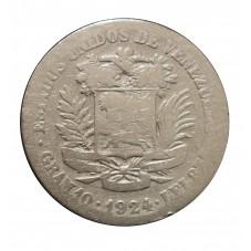 1924 VENEZUELA 2 BOLIVARES...