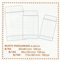 MARINI 100 BUSTE IN PERGAMINO B-90 A SACCO 60x90mm