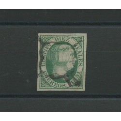 1851 SPAGNA ESPANA ISABELLA II 10 REALES VERDE - N 11 - 1 VAL USATO CAFFAZ MF23157