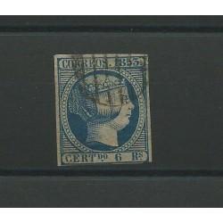 1853 SPAGNA ESPANA ISABELLA II 6 REALES AZZURRO - N 21 - 1 VAL USATO CAFFAZ MF23156