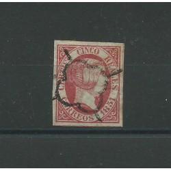 1851 SPAGNA ESPANA ISABELLA II 5 REALES ROSA - N 9 - 1 VAL USATO CAFFAZ MF23164