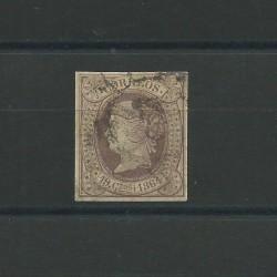 1864 SPAGNA ESPANA ISABELLA II 19 CUARTOS VIOLETTO N 62 - 1 V USATO DIENA MF23139