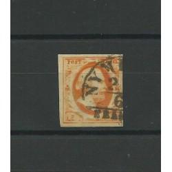 1852 OLANDA NEDERLAND C 15 ARANCIO GUGLIELMO III - N 3 - 1 V USATO CAFFAZ MF23171