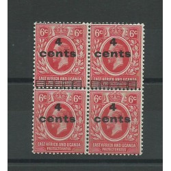 EAST AFRICA UGANDA 1919 4 C SU 6 C BLOCK OF 4 WITH VARIETY MLH-MNH CAFFAZ MF23202