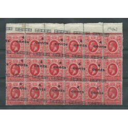 EAST AFRICA UGANDA 1919 4 C SU 6 C BLOCK OF 18 WITH VARIETY MNH CAFFAZ MF23340