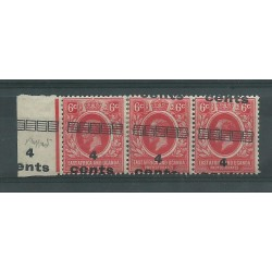 EAST AFRICA UGANDA 1919 4 C SU 6 C STRIP OF 3 WITH VARIETY MLH CAFFAZ MF23341