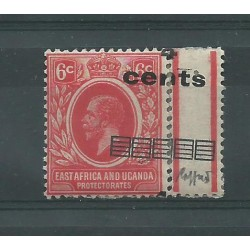 EAST AFRICA UGANDA 1919 4 C SU 6 C STAMP WITH VARIETY MLH CAFFAZ MF23343