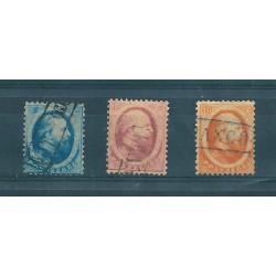 1864 OLANDA NEDERLAND NUOVO TIPO EFFIGIE GUGLIELMO III 3 VALORI USATI MF16479