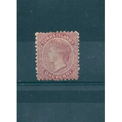 TURKS ET CAICOS 1867  VICTORIA VITTORIA  ONE PENNY  ROSE  YVERT N 1 MLH MF16717