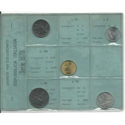 1973 REPUBBLICA ITALIANA DIVISIONALE  ANNO 1973  5 MONETE FDC MF23697