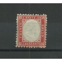 1862 REGNO ITALIA EFFIGIE VITT EMANUELE II 40 C CENTRATO 1 V MLH RAYBAUDI MF23577