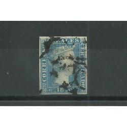 1850 SPAGNA ESPANA ISABELLA II 6 REALES AZZURRO - N 4 - USATO  MF23592