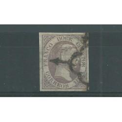 1851 SPAGNA ESPANA ISABELLA II 12 CUARTOS GR LILLA - N 7 - USATO DIENA MF23590