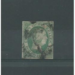 1851 SPAGNA ESPANA ISABELLA II 10 REALES VERDE - N 11 - USATO GRAUS MF23584