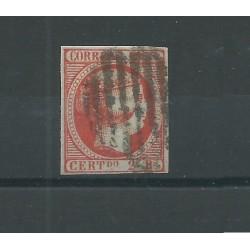 1853 SPAGNA ESPANA ISABELLA II 2 REALES VERMIGLIO - UNIF N 19 - USATO  MF23585