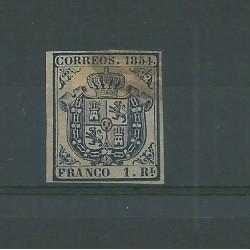 1854 SPAGNA ESPANA STEMMA DI SPAGNA 1 R AZZURRO - N 30 -  USATO MF23586