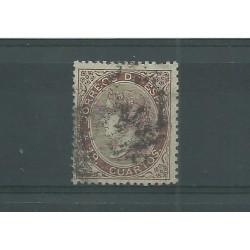 1868-69 SPAGNA ESPANA ISABELLA II 19 CUARTOS BRUNO - N 101 - 1 VAL USATO MF23591