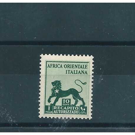 1942 AOI RECAPITO AUTORIZZATO 10c LEONE DI GIUDA 1 V  MNH MF17175