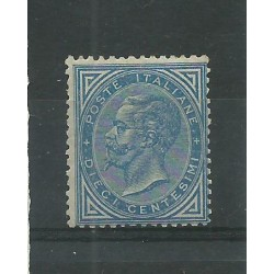 1877 REGNO ITALIA 10 C AZZURRO EFFIGIE VITTORIO EMANUELE II MLH CAFFAZ MF23859