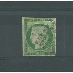 1849 FRANCIA SECONDA REPUBBLICA CERERE 15C VERDE - UNIF N 2 USATO DIENA MF23954