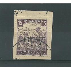 1917 FIUME MIETITORI 15 FILLER SOPRASTAMPA 2 TIPO SU FRAMMENTO CAFFAZ MF23950