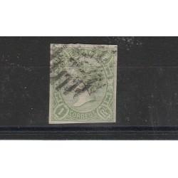 1865 SPAGNA ESPANA ISABELLA II 1 REAL  VERDE GIALLO  N 69- 1 VAL USATO MF17854