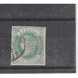 1862 SPAGNA ESPANA ISABELLA II 2 R VERDE SU ROSA N 58  USATO  MF17875