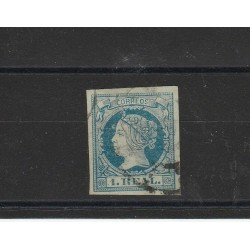 1860  SPAGNA ESPANA EFFIGIE ISABELLA II VOLTA A SINISTRA 1 REAL  - N 51  USATO MF17864