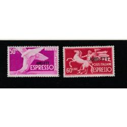 1950-52 TRIESTE A ESPRESSI SERIE DEMOCRATICA  2 VALORI NUOVI MLH MF17919