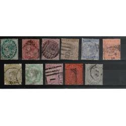 INDIA INGLESE 1882-88 VICTORIA  FIL STELLA   11 VAL USATI YVERT N 33-43 MF18266