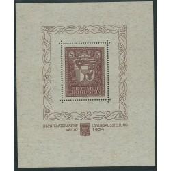 1934 LIECHTENSTEIN ESPOSIZIONE FILATELICA VADUZ FOGLIETTO MNH CERT CHIAV MF24192
