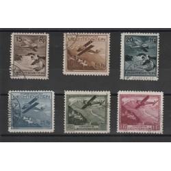 1930  LIECHTENSTEIN PA AEREO IN VOLO 6 V USATI  UNIF N 1-6 MF18331