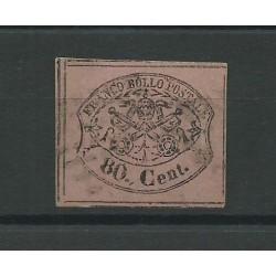 STATO PONTIFICIO 1867 80 CENT ROSA LILLACEO VIVO N 20 A DIENA MF24200