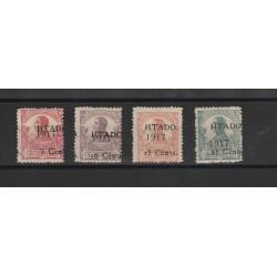 GUINEA  SPAGNOLA 1918  ALFONSO XIII  SOPRASTAMPATI 4 VAL MLH MF18545