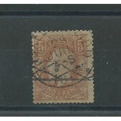 1869-83 BELGIO BELGIE  BELGIQUE EFFIGIE LEOPOLDO II 5 F. MARRONE CHIARO USATO CERT MF24304