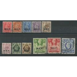 1943-47 MEF M.E.F. DEFINITIVA GEORGE VI 11 VALORI USATI SASS n 6-16 MF24362