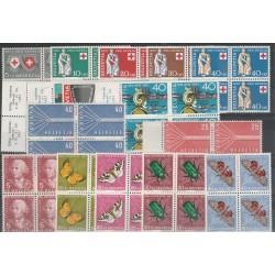 1957 SVIZZERA ANNATA COMPLETA IN QUARTINA 16 VALORI NUOVI MNH  MF18862
