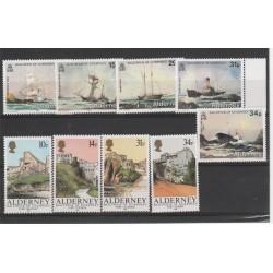 1986 - 1987 ALDERNEY ANNATE COMPLETAE 9  VALORI  NUOVI MNH MF 19111