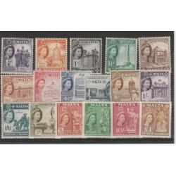 1956-57 MALTA EFFIGIE ELISABETTA II E VEDUTE  17 V  MLH UNI 239-255 MF19461