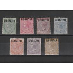 1886 GIBILTERRA DEF BERMUDA  SOPRAST  7 V MLH UNIF 1-7  MF19438